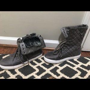 High top sneaker booties.